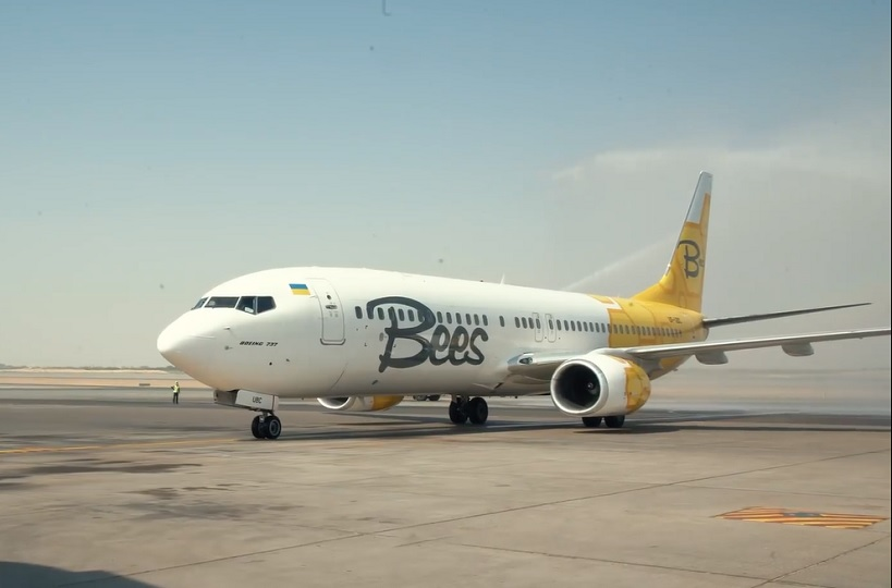 """مطار الشارقة يستقبل أولى رحلات بيز """"Bees Airline"""" الأوكرانية القادمة من كييف"""